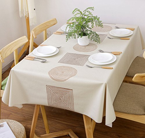 Vinyl Tablecloth Oblong Rectangle Table Cover Wipe Clean PVC Tablecloth Oil-proof/Waterproof Stain-resistant/Mildew-proof Wipe Clean Table Cover for Kitchen and Dining Room 54 x 70 '',Ivory Line