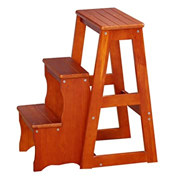Amazing Amazon Com Wooden Step Stool Stair Chair Folding Caraccident5 Cool Chair Designs And Ideas Caraccident5Info