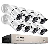 ZOSI Security Cameras System 8CH Full 1080P HD-TVI Surveillance DVR System,8pcs HD 1980TVL 1080P Weatherproof Indoor Outdoor CCTV Cameras NO Hard Drive White, 100ft IR night vision, Motion Detection