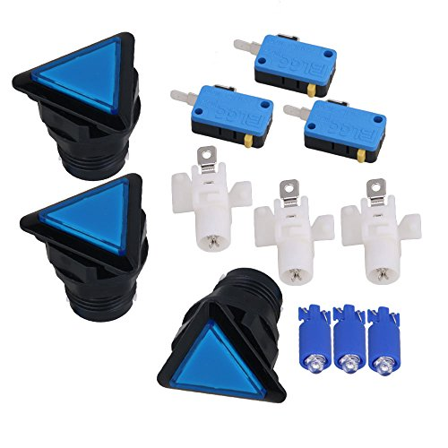 Blue Triangle Push Button LED Illuminated Arcade Video Game Microswitch Push Button