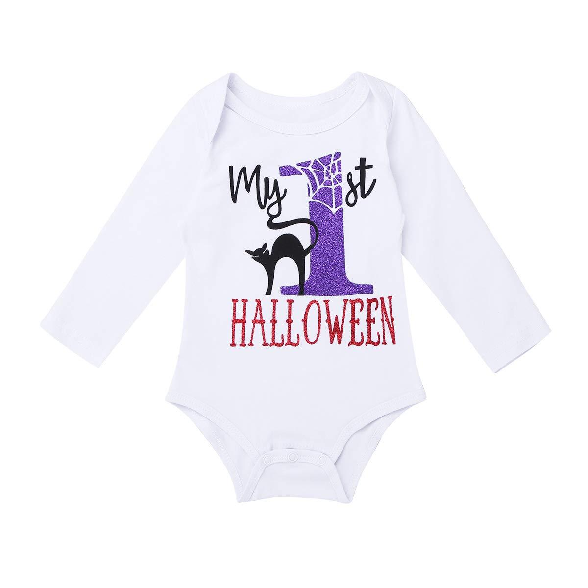 FEESHOW Baby Girls My 1st Halloween Outfit Costumes Romper Bodysuit Tutu Skirt Headband Set Black 5 pcs Set 0-3 Months by FEESHOW (Image #3)