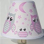 Pink Owl Night Lights / Owl Nursery Decor with Stars and Moons (Pink Owl Night Light)