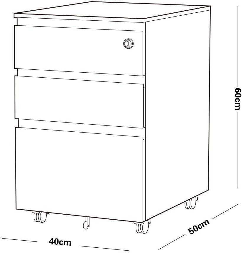YOUKE Mobile File Cabinet con 3 cassetti piedistallo in Acciaio con Serratura a Sospensione File Guide sospese Nero