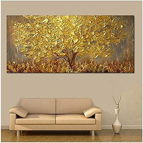 Arte de la pared Árbol de oro Pintura al óleo sobre lienzo Pinturas para sala de estar Cuadros abstractos modernos 70x140cm Sin marco Árbol de oro