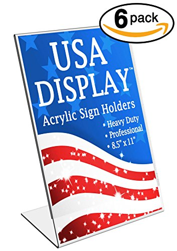 USA Display - 8.5 x 11 Inch Heavy-Duty Slant Back Clear Acrylic Sign Holder - Original (2016 Edition) Durable Slanted Plastic Brochure Ad Frame Sign Holder Stand (Pack of 6)