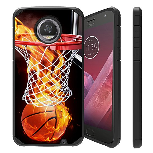Untouchble| Case for Motorola Moto Z3 (2018), Moto Z3 Play Cover [Shock Bumper Case] Combat Shockproof Two Layer Cover - Basketball Fire (Fire Phone Case Cover)