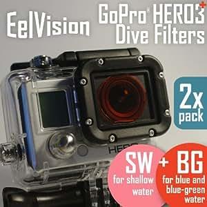 EelVision Underwater Filters for GoPro HERO4 HERO3/3+ (2 pack: Red + Snorkeling) / Scuba Diving / Snorkel / Underwater Color Correction