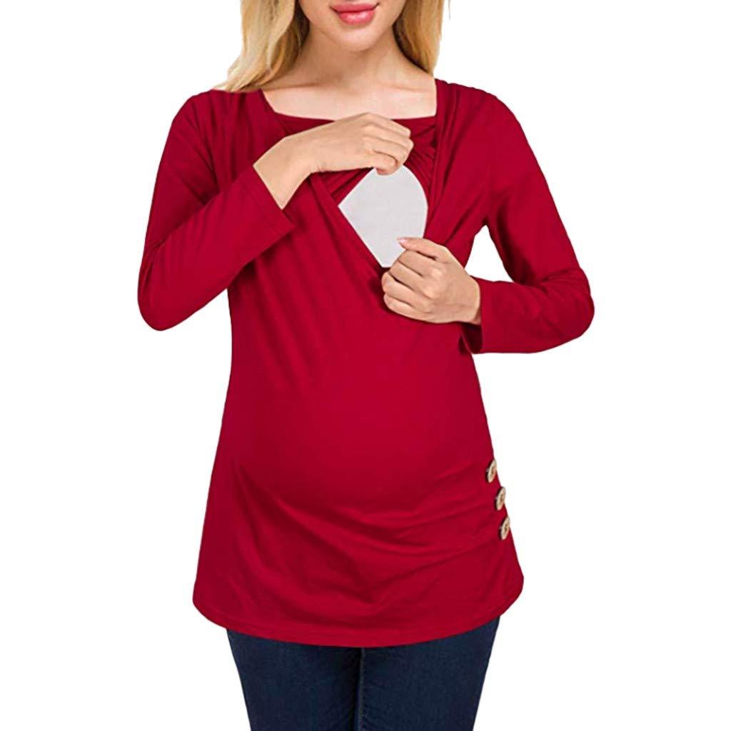 HCFKJ Womens Clothes Maternity Dress Coat Lady Maternity Button Side Shirred Nursing Top Long Sleeve Breastfeeding Shirt