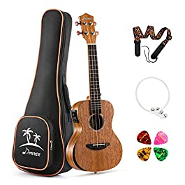 Donner Electric Tenor Ukulele Built-in Tuner Solid Top Mahogany Arm Rest 26 inch Electro Acoustic Ukelele Beginner Kit…