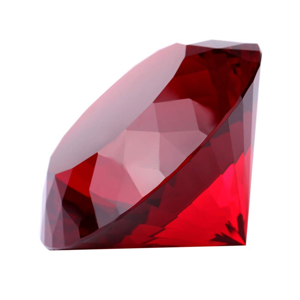 Red Crystal Glass Diamond Shaped Decoration, Big Ruby 100mm Jewel Paperweight,Gift Decoration Idea For Christmas by Yarr Store