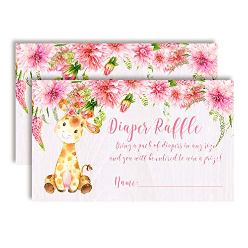 - Watercolor Dahlia Floral Giraffe-Themed Diaper Raffle Tickets for Girl Baby Showers, 20 2