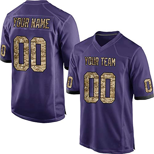Custom Youth Purple Mesh Personalized Football Jerseys for Kids Swen Team Name and Your Numbers,Light Camo-Black Size M