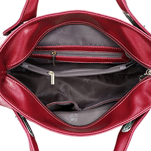 Messenger 4 Ladies Red Shoulder Outdoor Tote Black PU Purse Handbag Women Leather PCS Card Bear Wallet Bag Crossbody Office Holder qpq7gFw