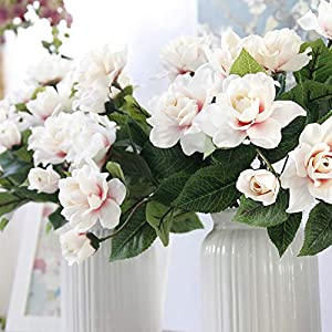DecoForU 2 Packs Artificial Flowers Gardenia Silk Flowers Arrangements for Home Wedding Party Decoration (Pink) 3