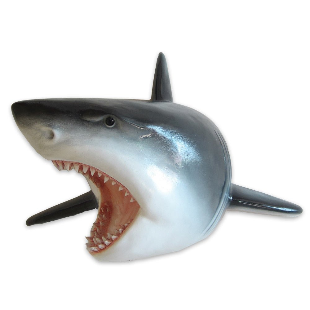 "Large Shark Head Wall Mount Statue Bust - ""Predator"" - Mako Great White Shark Attack Teeth"