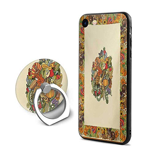 Thanksgiving iPhone 6 Plus/iPhone 6s Plus Cases,Pumpkin Wreath Bow Cranberry Leaves Ivy Corn Basket Traditional Pattern Fall Multicolor,Mobile Phone Shell Ring Bracket