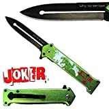 Joker Spring Assisted Opening Pocket Knife Why So Serious? with Belt Clip Tactical Batman Dark Knight 4 Variations (Green)