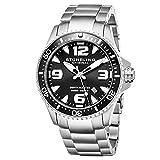 Stuhrling Original Ltd Edition Mens Pro Dive Watch Swiss Quartz 200 Meter Water Resistant Unidirectional Ratcheting Bezel Stainless Steel Bracelet Screw Down Crown Sport Watch (Black)