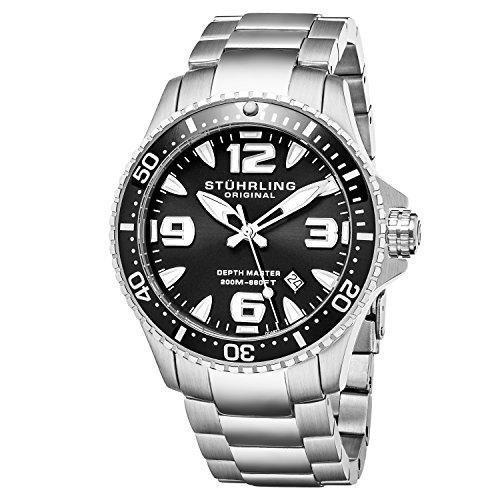 (Stuhrling Original Ltd Edition Mens Pro Dive Watch Swiss Quartz 200 Meter Water Resistant Unidirectional Ratcheting Bezel Stainless Steel Bracelet Screw Down Crown Sport Watch (Black))
