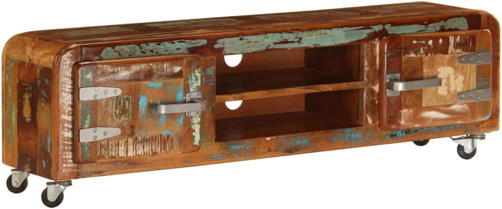 Nishore Mueble para la TV Mueble TV Mueble Salon de Madera de Maciza Reciclada 120 x 30 x 36 cm con 2 Compartimentos y 2 Puertas y 4 Ruedas, Fácil de Mover: Amazon.es: Hogar
