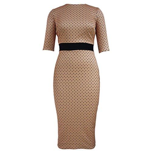 YFFaye Women's Hazelnut Diamond Print Brown Half Sleeve Midi (Holloween Custums)