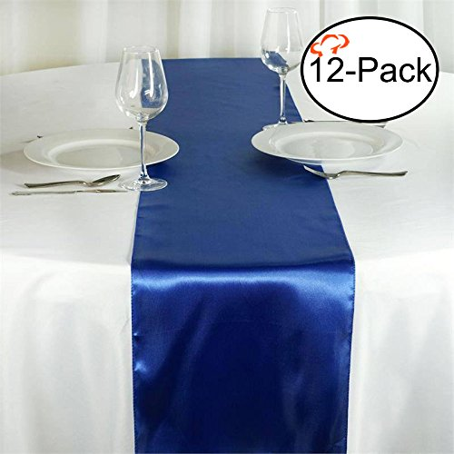 (Tiger Chef 12-Pack Royal Blue 12 x 108 inches Long Satin Table Runner for Wedding, Table Runners fit Rectange and Round Table Decorations for Birthday Parties, Banquets, Graduations,)