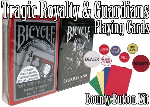 (Bicycle Guardians & Tragic Royalty Plastic Coated Playing Card Decks w/ Texas Hold 'Em Poker Kit)