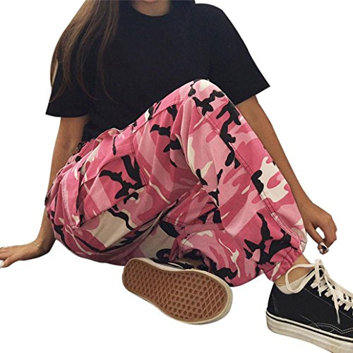Pink Camouflage Pants - Napoo 2018 New Women Floral Print Sports Camo Cargo Outdoor Camouflage Pants Trousers (S, Pink)