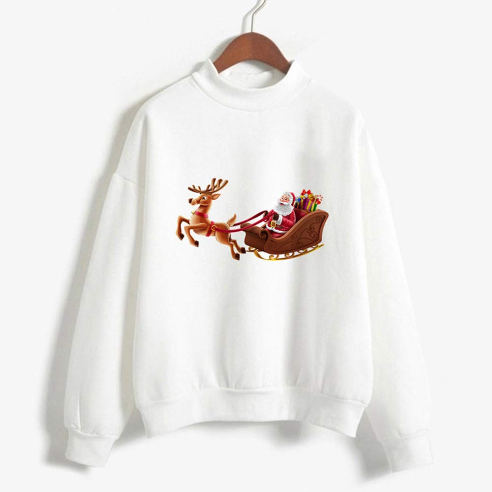 STORTO Women Christmas Sweatshirt Casual Santa Claus Print Pullover Tops
