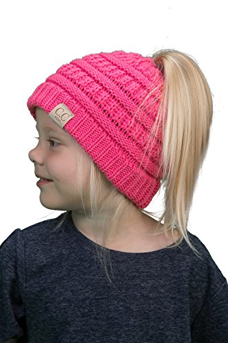 BT2-3847-80 Kids Messy Bun Ponytail Winter Hat Girls Beanie Tail - Candy Pink (Girls Caps And Hats)