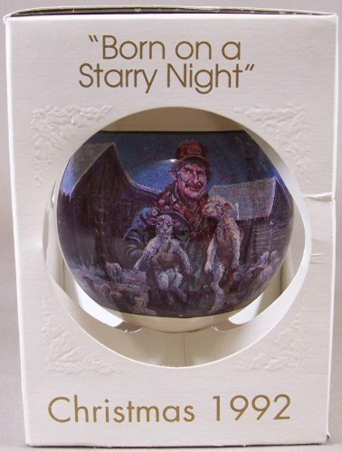 BORN ON A STARRY NIGHT Christmas 1992 Globe Ornament 7th Edition - Mall Lowell