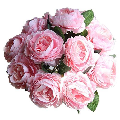 KIRIN Fake Flowers,Artificial Flowers Plants 8 Pcs Silk Plastic Rose Flower Arrangements Wedding Bouquets Decorations Floral Table Centerpieces for Home Kitchen Garden Party Décor