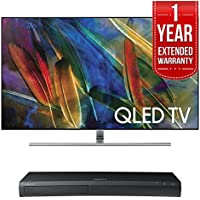 Samsung QN75Q7FAMFXZA Flat 75-Inch 4K Ultra HD Smart QLED TV (2017 Model) w/ Samsung 4K Ultra HD Blu-ray Player & 1 Year Extended Warranty