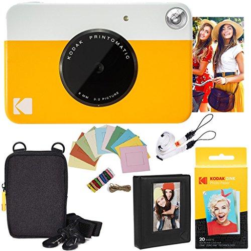 Kodak Printomatic Instant Camera (Yellow) Deluxe Bundle + Zink Paper (20 Sheets) + Deluxe Case + Photo Album + Hanging Frames + Comfortable Neck Strap