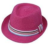 img - for Bigood Women Straw Gangster Fedora Panama Cowboy Hat Jazz Cap Colorful Pink book / textbook / text book