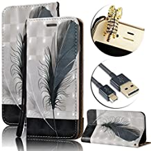 Galaxy Grand Prime Wallet Case,Vandot Luxury PU Leather 3D Relief Magnetic Flip Stand Cover Card Holder Waterproof Protective Skin for Samsung Galaxy Grand Prime G530+Diamond Dust Plug+USB Cable-Black Feather