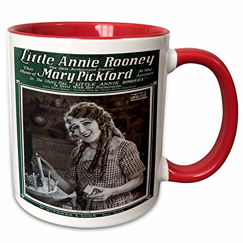 3dRose BLN Vintage Song Sheet Covers - Little Annie Rooney Souvenir Edition Song Sheet Cover Photo of Mary Pickford - 15oz Two-Tone Red Mug (mug_154810_10)
