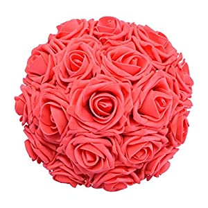 Coxeer 50PCS 3.15'' Artificial Roses Foam Roses Simulation Flowers with 7.09'' Rod for Wedding Party 16