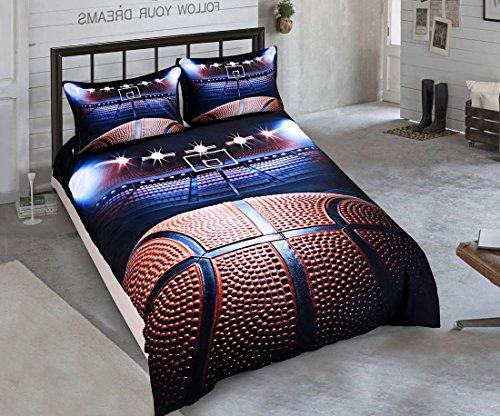 SxinHome Madness in March 3D Basketball Bedding Set for Teen Boys, Duvet Cover Set,3pcs 1 Duvet Cover 2 Pillowcase(No Duvet&Comforter inside), 100 % Size