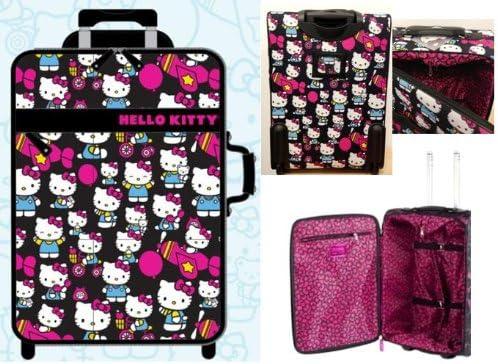 Hello Kitty Hk On Plane//Bike//Balloon All Over Kitty Print Rolling Suitcase Multi