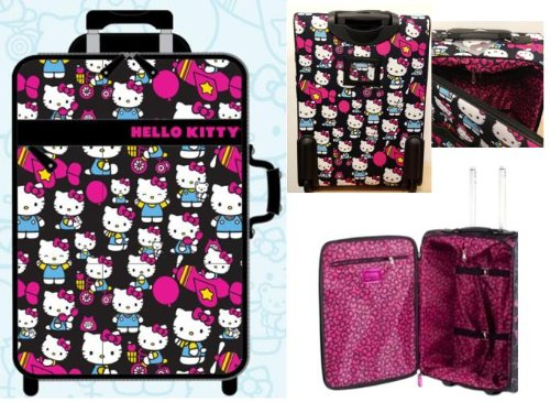 Hello Kitty Hk On Plane/Bike/Balloon All Over Kitty Print Rolling Suitcase, Multi