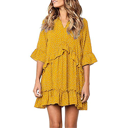 - Exlura Women's Ruffle Polka Dot V Neck Bell Sleeve Dress Casual Loose Swing T-Shirt Dress