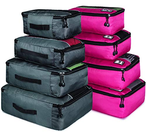 8 Set Packing Cubes, Travel Luggage Bags Organizers Mixed Color Set(Grey/Rose) (Best Travel Cubes For Backpacking)