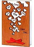 Handmade Wooden Love You Many Hearts Real Wood Card Best Birthday Wedding Dating Anniversary Present for Husband Wife Boyfriend Girlfriend or Unique Anniversary Keepsake
