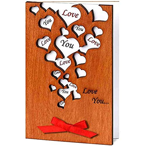 Handmade Wooden Love You Many Hearts Real Wood Unusual Card Best Holiday Keepsake Valentine Anniversary Present Sales