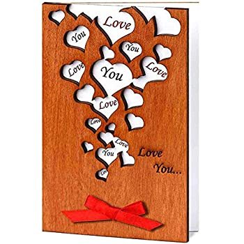 Amazon love card imitation wood greeting card for handmade love you many hearts real wood greeting card best unusual happy birthday gift for friend mom dad or romantic valentine 5 th wedding dating m4hsunfo