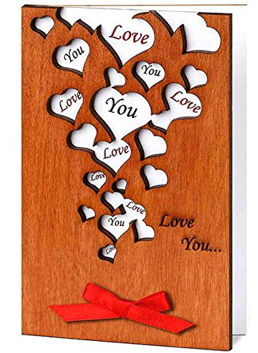 Handmade Love You Many Hearts Real Wood Card Best Birthday Wedding Dating Anniversary Present for Husband Wife Boyfriend Girlfriend Him Her Unique Wooden Keepsake Souvenir or Best Unusual Valentine