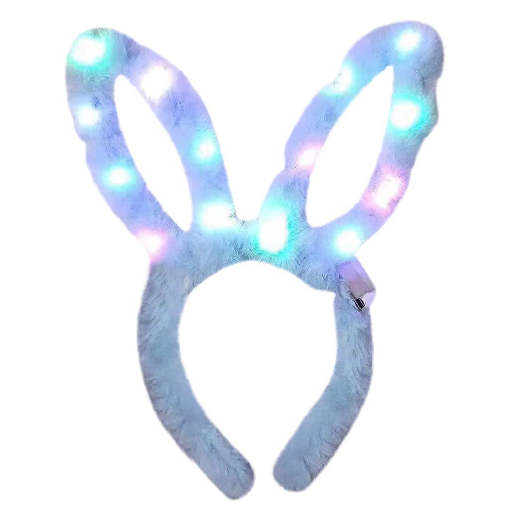 LED Rabbit Ear Headband, Fascigirl 8 PCS Light Up Headband Cute Bunny Hairbands for Girls Adult Easter Halloween Christmas Party Decorations Hair (Blue)