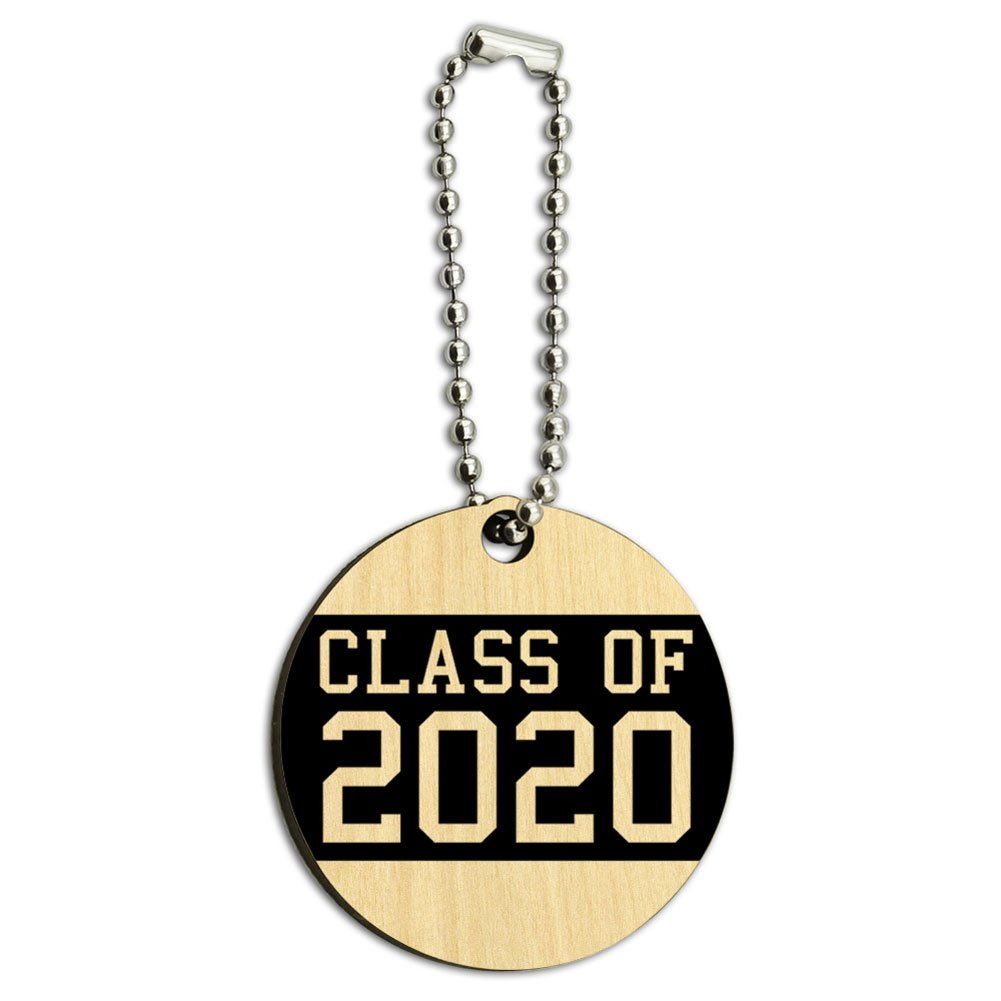 Class of 2020 Graduation Wood Wooden Round Key Chain