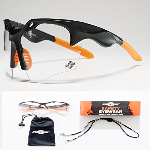 ToolFreak-Finisher Clear Safety Glasses, Eye Protection thats Ultra Light and Better Fit | UV Protection | Treated to Help Reduce Fog and Scratch | Perfect for Work & Sport ++ Accessories by ToolFreak